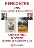Bernard Carrère et Patrice Larrosa à la salle des fêtes de Pouillon le 30 novembre à 19h