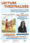 Lecture théâtralisée de Marcus et Péritas par Mary-Luce Pla à Tartas le vendredi 23 octobre