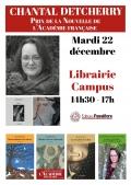 Chantal Detcherry sera à la Librairie Campus le mardi 22 décembre à partir de 14h30