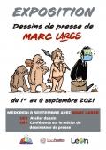 Marc Large à Léon le 8 septembre pour l'exposition de ses dessins de presse du 1er au 9 septembre